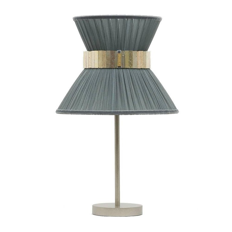 Tiffany contemporary table Lamp grey Silk, nikel Brass, Silvered Glass