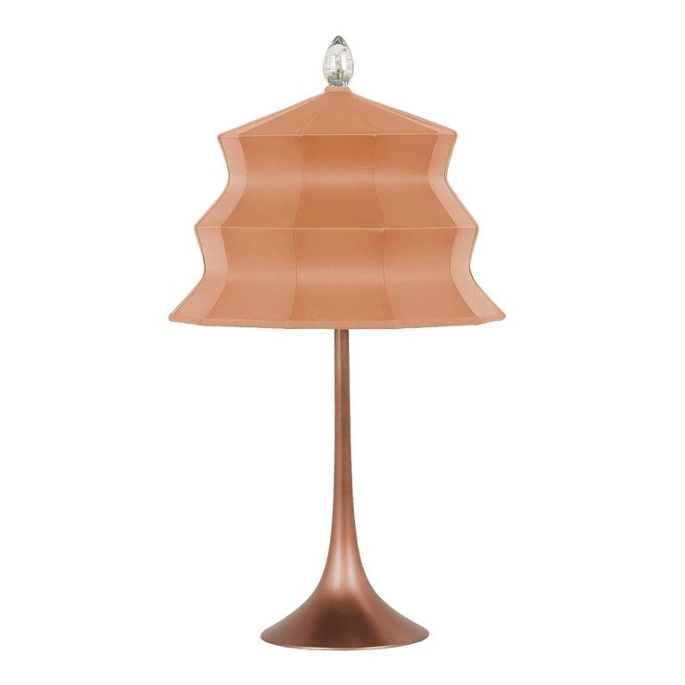 """""""Pagoda"""" Table Lamp, in copper  and blush Silk, Silver Crystal Tip, Handmade"""
