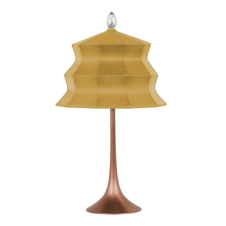 """""""Pagoda"""" Table Lamp, in copper  and gold Silk, Silver Crystal Tip, Handmade"""