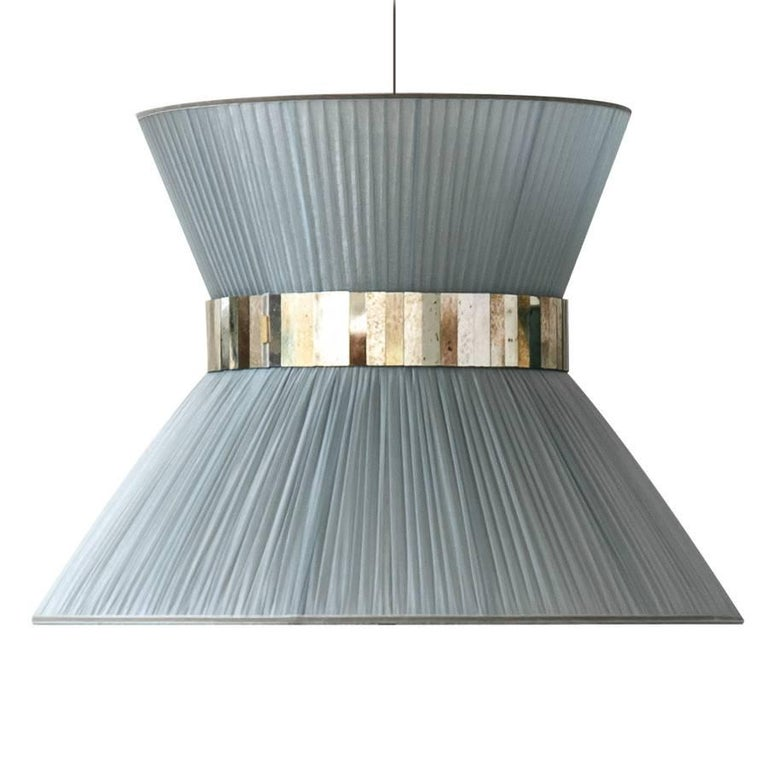"""""""Tiffany"""" contemporary Hanging Lamp 80 silver Silk Silvered Glass , brass  For Sale"""