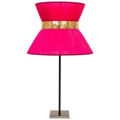 Tiffany Table Lamp Berry Silk Shade Silvered Glass Anthracite Brass