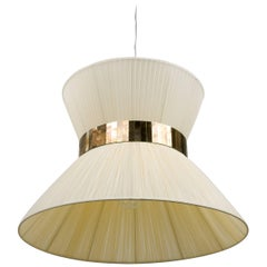 Tiffany contemporary Hanging Lamp 60cm Ivory Silk Silvered Glass Nickel Canopy