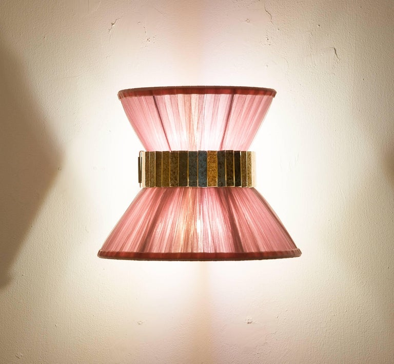 """Modern """"Tiffany"""" contemporary bowtie Wall Sconce 25, silk, Brass, Silvered Glass For Sale"""