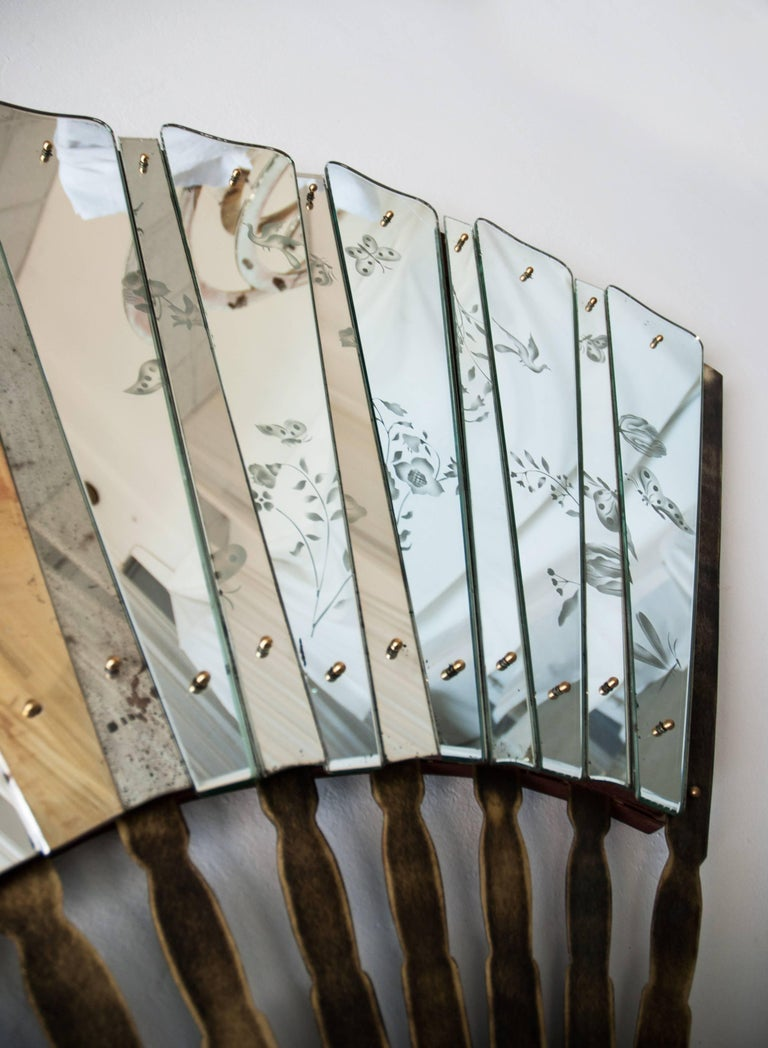 Italian Fan Sculpture Mirror Old Glass and Silvering Brass Metal in Stock For Sale