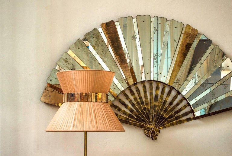 Fan Sculpture Mirror Old Glass and Silvering Brass Metal in Stock In New Condition For Sale In Pietrasanta, IT