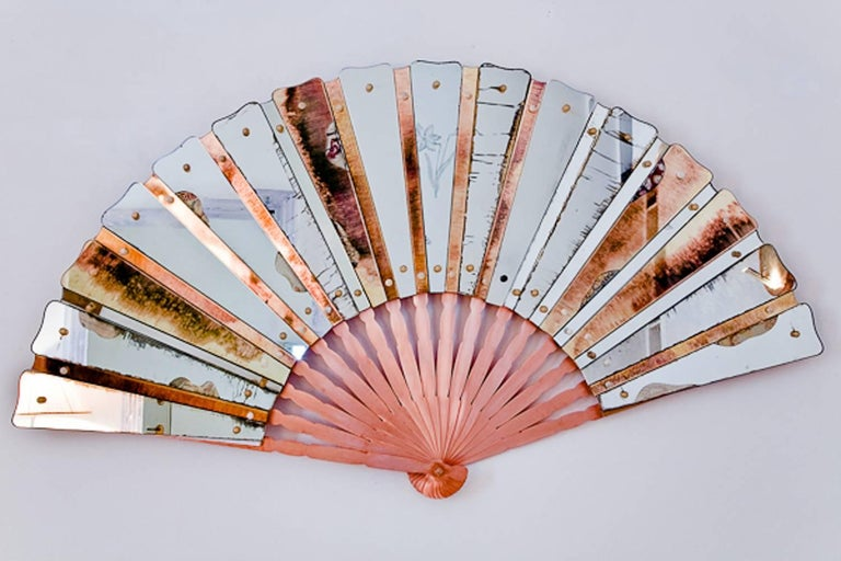 Fan Sculpture Mirror Old Glass and Silvering Brass Metal in Stock For Sale 1