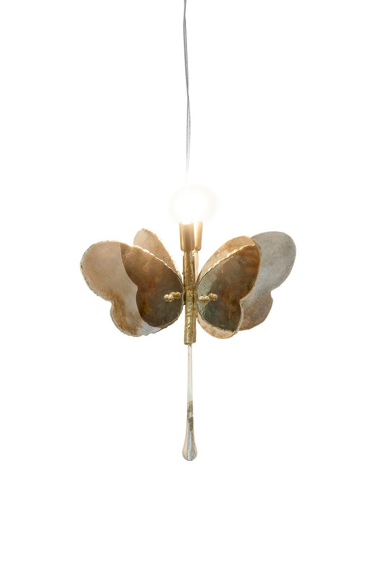 Butterfly Hanging Lamp Silvered Glass Hand Cut Skin Brass Body Crystal Handmande For Sale 1