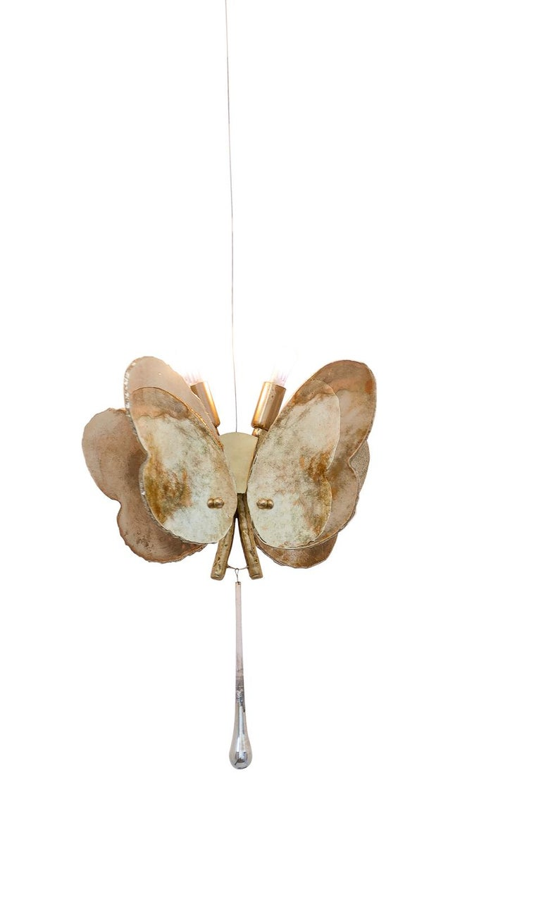 Modern Butterfly Hanging Lamp Silvered Glass Hand Cut Skin Brass Body Crystal Handmande For Sale