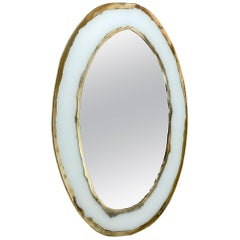 Life Mirror, Art Glass Silvered on White, Mirror, Birch Wood Handmade, Tuscany