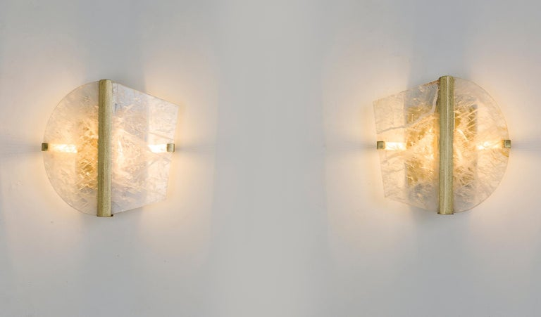 """Twobe"" Wall Lamp cast brass, Rock Crystal, Led Light, Handmade in Tuscany Italy 3"