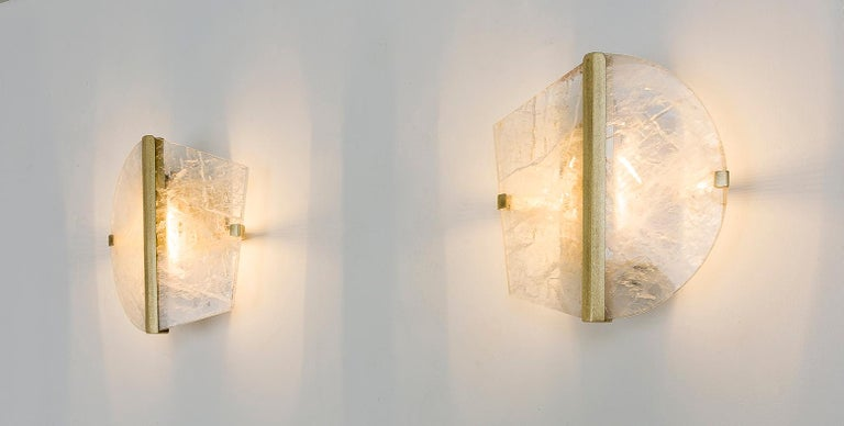 """Twobe"" Wall Lamp cast brass, Rock Crystal, Led Light, Handmade in Tuscany Italy 5"