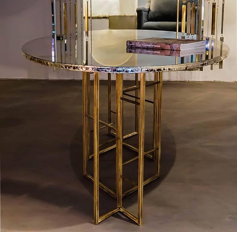 Modern Flight dining room table brass legs diamond cut double glass top silvered  For Sale