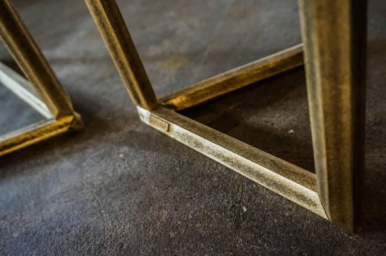 Italian Flight dining room table brass legs diamond cut double glass top silvered  For Sale