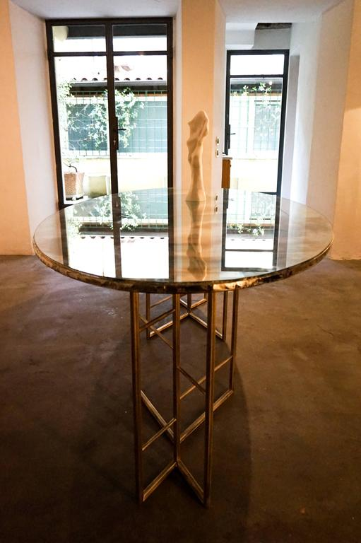 glass dining room tables for sale | Flight dining room table brass legs diamond cut double ...