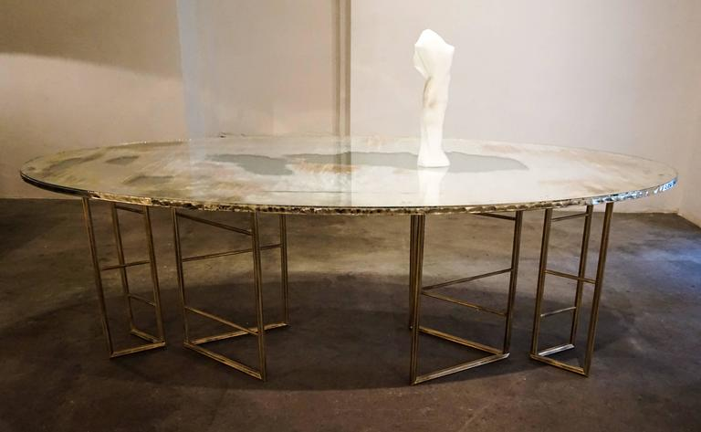 Contemporary Flight dining room table brass legs diamond cut double glass top silvered  For Sale