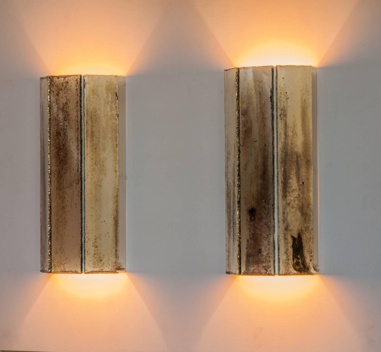 Trilogy jewel pair of wall lamp sconces silvered glass living room next mirror For Sale at 1stdibs