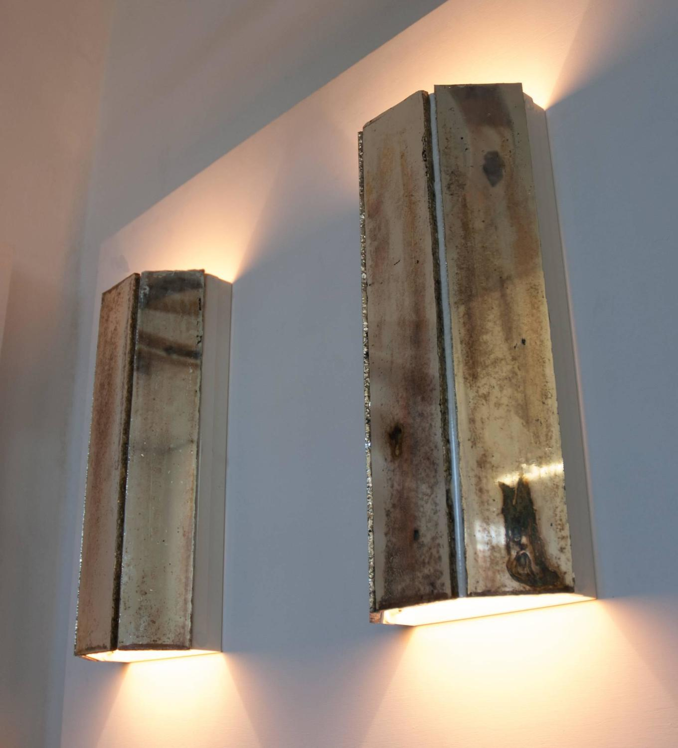 Wall Sconces Next To Mirror : Trilogy jewel pair of wall lamp sconces silvered glass living room next mirror For Sale at 1stdibs