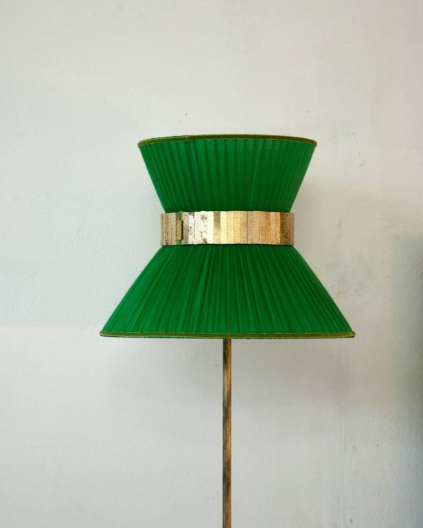 Modern  Tiffany contemporary Floor Lamp emerald Silk Antiqued Brass Silvered Glass      For Sale