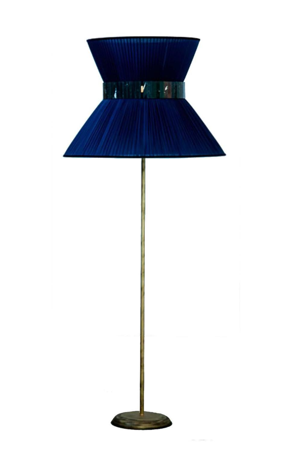 Tiffany floor lamp standing lightings silk shade bronze for Floor lamp with silver base