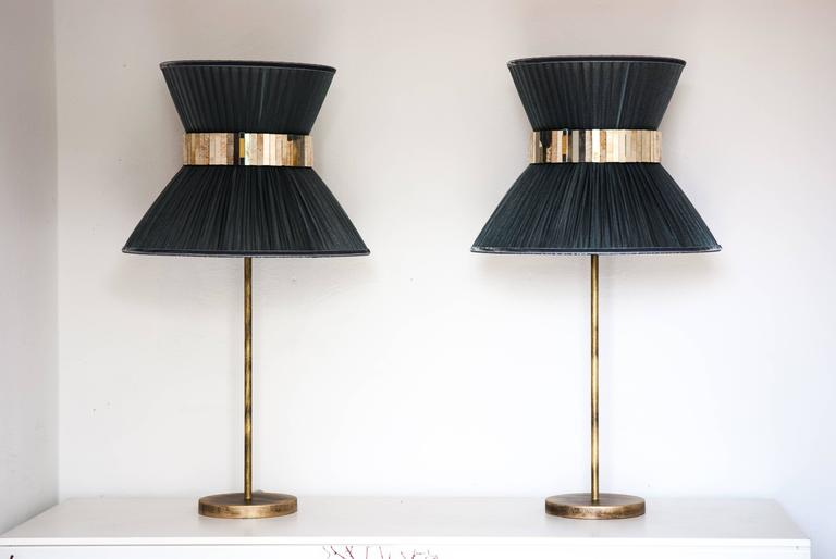 Modern  Tiffany contemporary table Lamp ivory Silk Antiqued Brass, Silvered Glass      For Sale