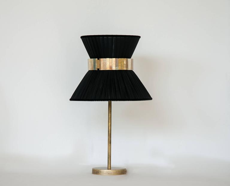 """Modern  """"Tiffany"""" Table Lamp in black Silk, Antiqued Brass, Silvered Glass Handmade  For Sale"""