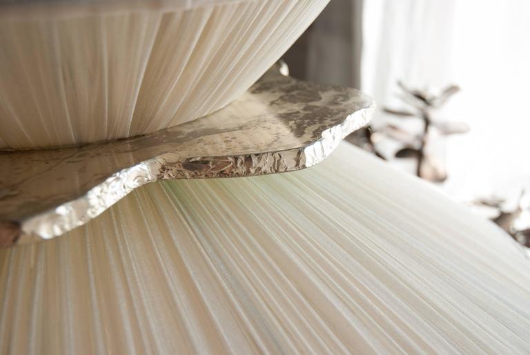 Daisy floor lamp h. 164x 60 dimater silk shade abatjour silvered glass brass 3