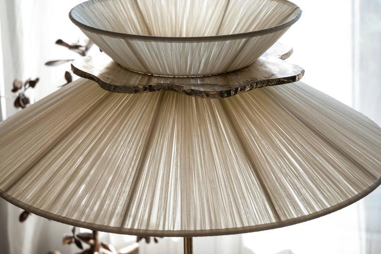 Daisy floor lamp h. 164x 60 dimater sun silk shade silvered glass mat brass 4