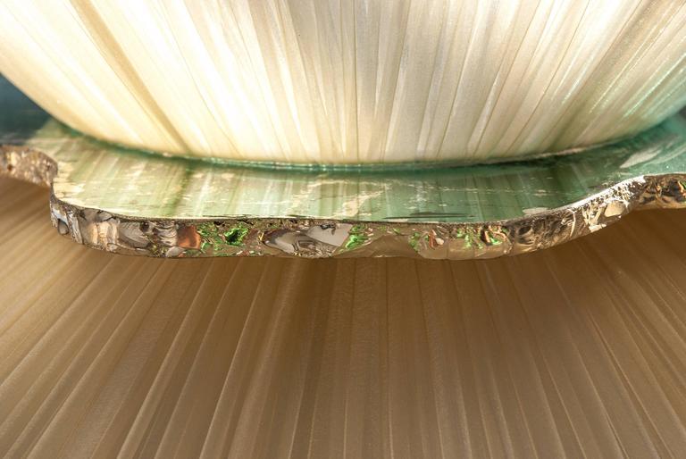 Daisy floor lamp h. 164x 60 dimater sun silk shade silvered glass mat brass 6