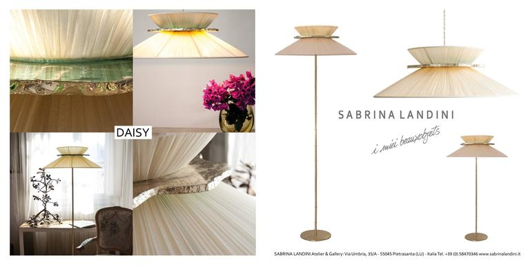 Daisy floor lamp h. 164x 60 dimater silk shade abatjour silvered glass brass 9