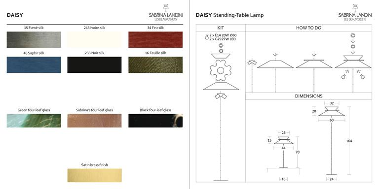 Daisy floor lamp h. 164x 60 dimater silk shade abatjour silvered glass brass 8