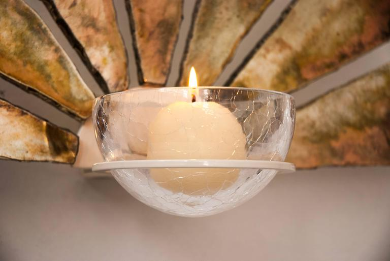 Fan made of silvered glass with a crystal bowl as candleholder or as wall sconce lighting. Crystal bowl is available in clear or blue color crystal. Measurements width 50 x 32 height x 8 cm depth from wall. Elegant and atmosphere wall lamp sconce