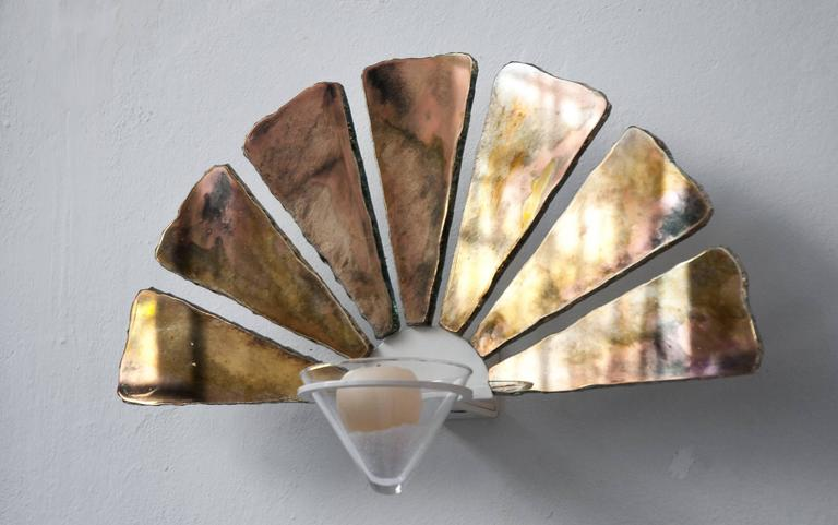 Glass Bowl Wall Lights : Fan Silvered Glass with Crystal Bowl for Candleholder and Wall Sconce Lighting For Sale at 1stdibs