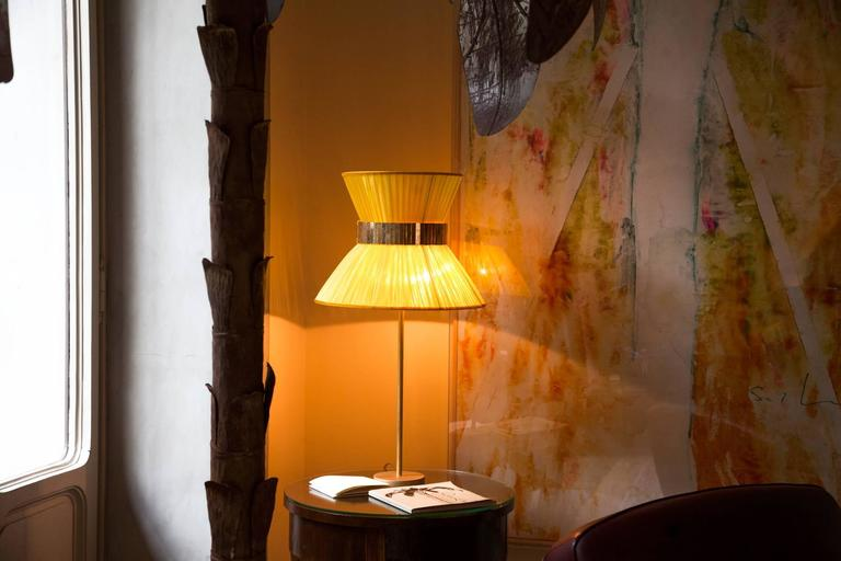 Modern  Tiffany contemporary table Lamp sun Silk, Antiqued Brass, Silvered Glass      For Sale