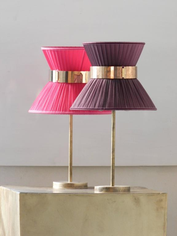 """Modern  """"Tiffany"""" Table Lamp in berry Silk, Antiqued Brass, Silvered Glass Handmade  For Sale"""