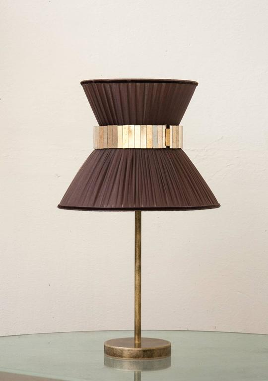 """Italian """"Tiffany"""" Table Lamp in tobacco Silk, Antiqued Brass, Silvered Glass Handmade   For Sale"""