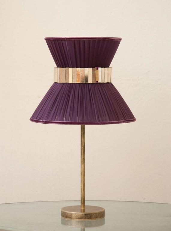 """Modern  """"Tiffany"""" Table Lamp in purple Silk, Antiqued Brass, Silvered Glass Handmade   For Sale"""