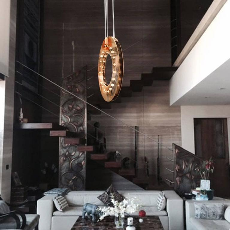 Italian Freedom Chandelier Pendant Lamp Brass Metal Rock Crystal Stones Silvered Glass For Sale