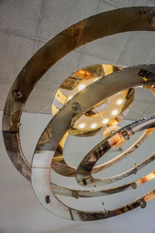 Planetarium Pendant Chandelier Sculpture Art Piece Silvered Glass Rock Crystal 9
