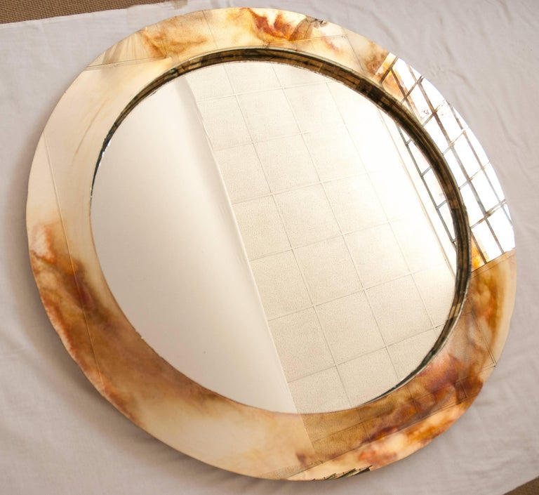 Modern Life Mirror, Tridimensional Art Glass Silvering central Actual Mirror by sabrina For Sale