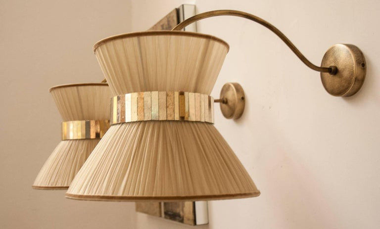"""""""Tiffany"""" Bracket Wall Sconce in gold Silk, Antiqued Brass, Silvered Glass  2"""