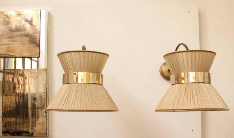 """""""Tiffany"""" Bracket Wall Sconce in gold Silk, Antiqued Brass, Silvered Glass  3"""