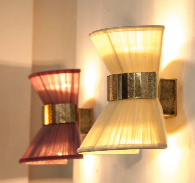 Tiffany Wall Lamp Shades : Tiffany bow wall lamp a silk shade organdy onion silvered glass ring Sabrina For Sale at 1stdibs