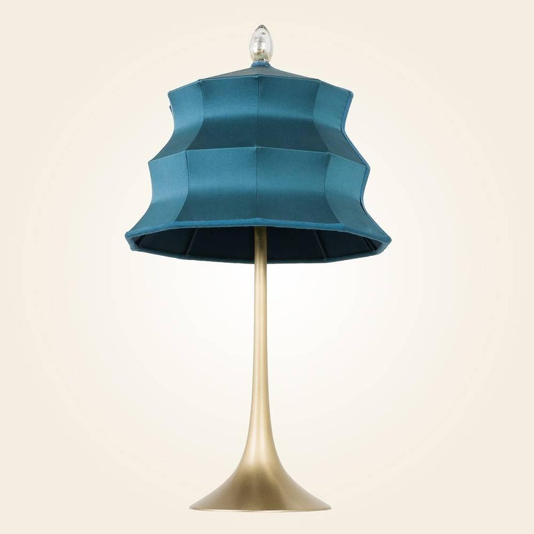 "Modern ""Pagoda"" contemporary Table Lamp, sky silk, Silvered Crystal Tip, brass     For Sale"