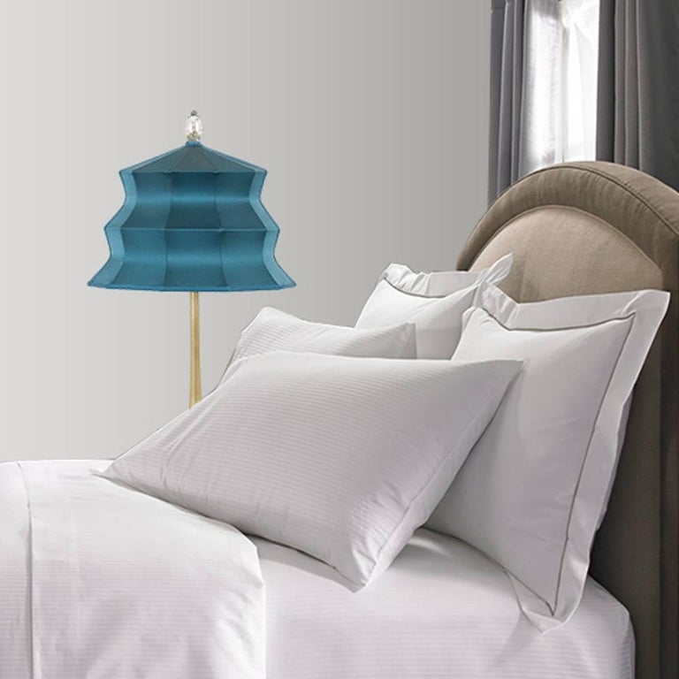 """Pagoda"" contemporary Table Lamp, sky silk, Silvered Crystal Tip, brass     For Sale 1"
