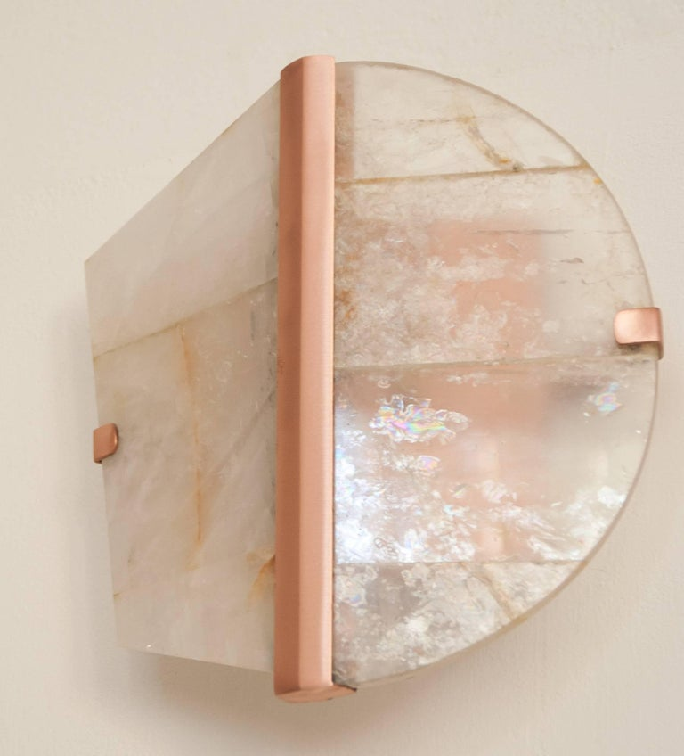 Handmade Copper Wall Sconces : Twobe Wall Lamp, Made in Copper and Rock Crystal Handmade in Italy For Sale at 1stdibs