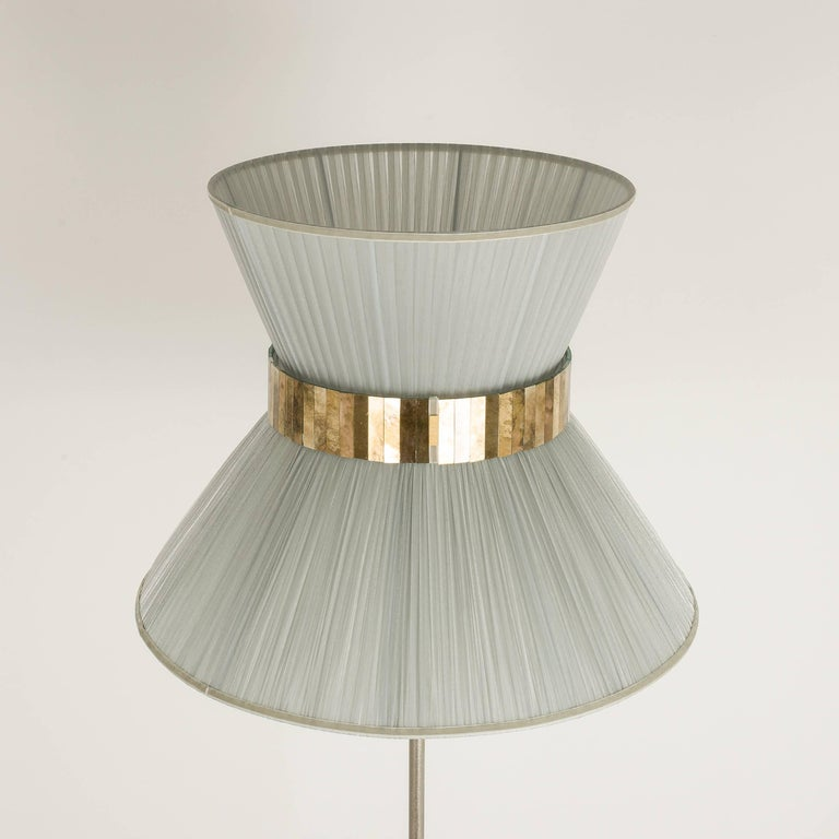 Contemporary  Tiffany contemporary Floor Lamp silverl Silk, nickel Brass , Silvered Glass   For Sale