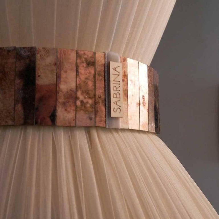 "Modern ""Tiffany"" Floor Lamp in ivory Silk, Antiqued Brass, Silvered Glass Handmade"