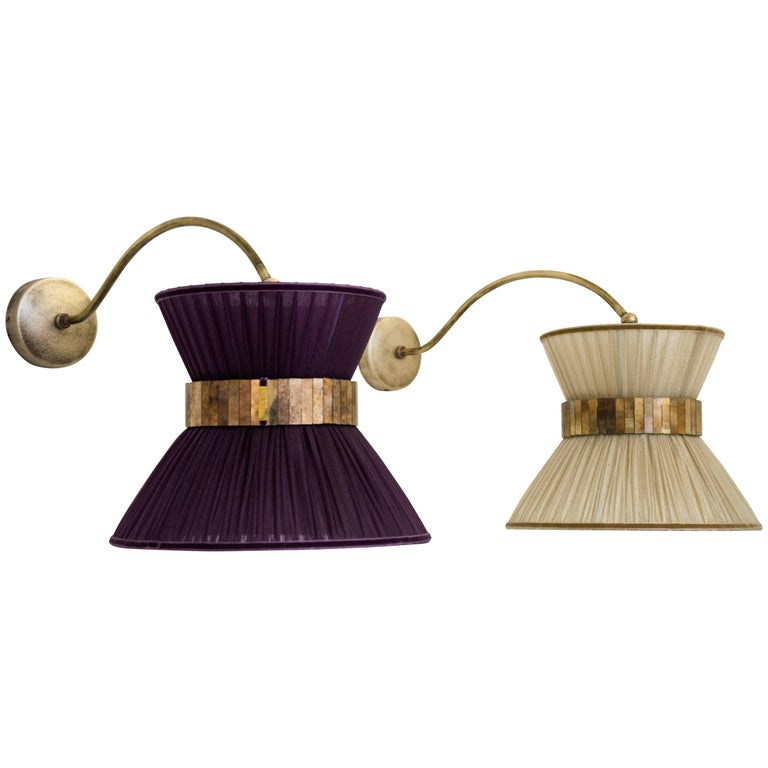"""Tiffany"" Bracket Wall Sconce in purple Silk, Antiqued Brass, Silvered Glass"