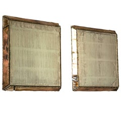 """Diamond"" contemporary mirror, silvered glass and central mirror, birch wood"