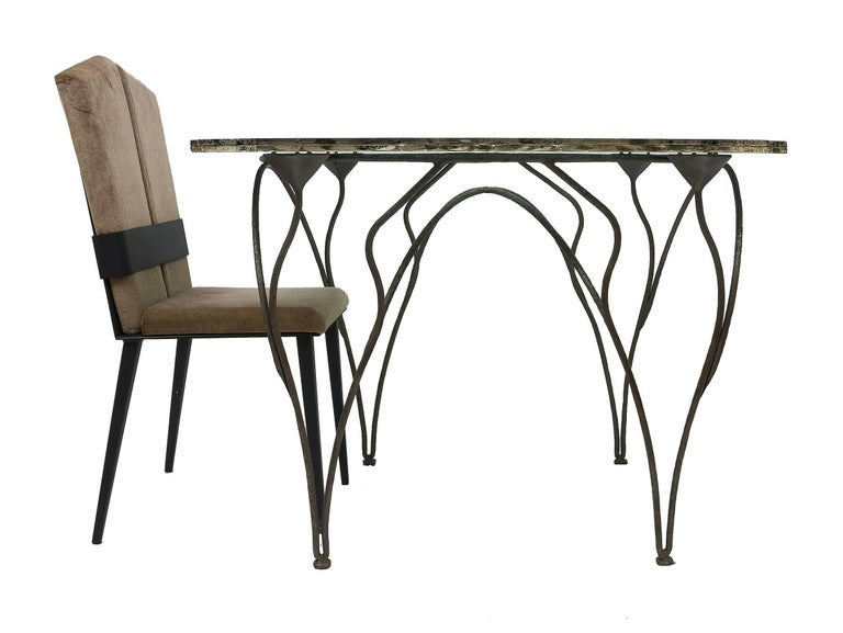 Italian Flower Dining Console Table Iron Patina Surface double Glass Silvered in stock For Sale